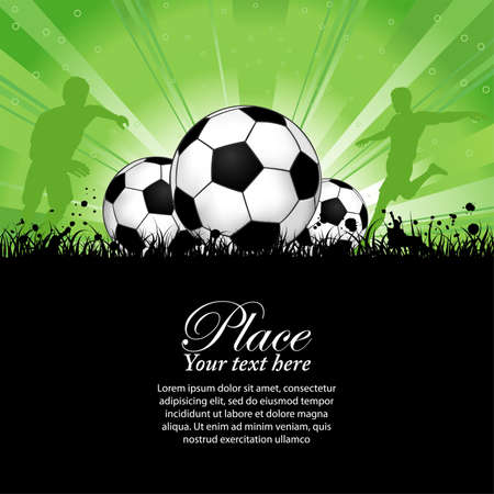 Soccer Players with ball on grunge background, element for design, vector illustration