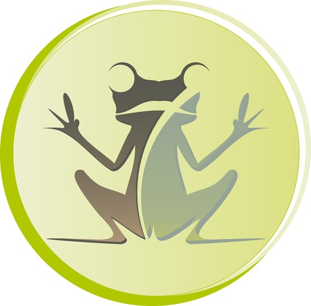 logo frog sitting with open hands