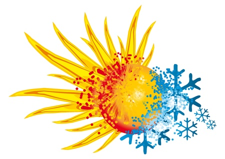 Illustration pour logo hot and cold with an explosion of fire and ice - image libre de droit