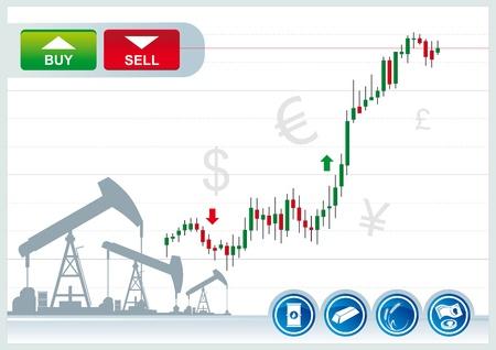 Illustration pour trading candles chart  on a white background - image libre de droit