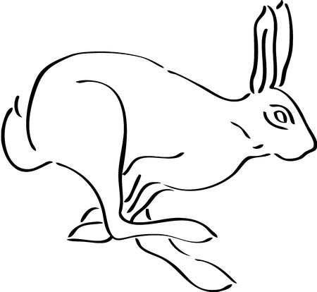 Rabbit silhouette, isolated. Cute animal