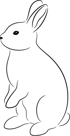 Rabbit silhouette, isolated. Cute animal illustration.