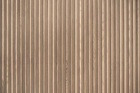 Foto de Wood slats, timber battens wall pattern surface texture. Close-up of interior material for design decoration background - Imagen libre de derechos