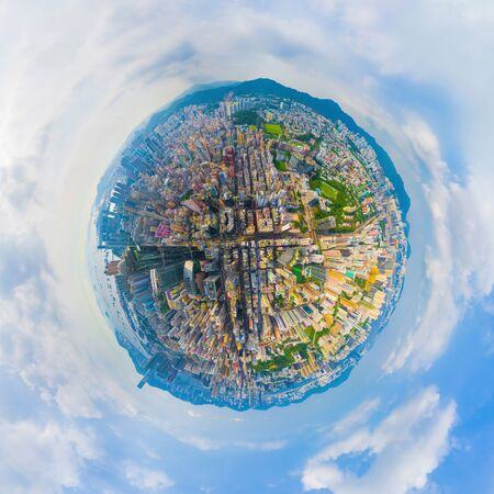 Photo for Little planet 360 degree sphere birds eye view. Panoramic view of aerial view of Hong Kong Downtown. Financial district and business centers in technology smart urban city. Skyscraper buildings. - Royalty Free Image