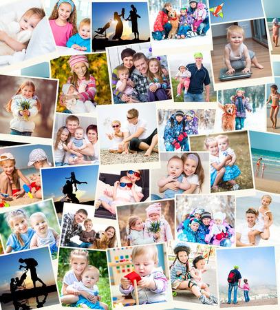 Foto de collage of family photos indoors and outdoors - Imagen libre de derechos