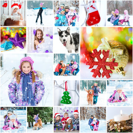 collage of photos on a winter theme
