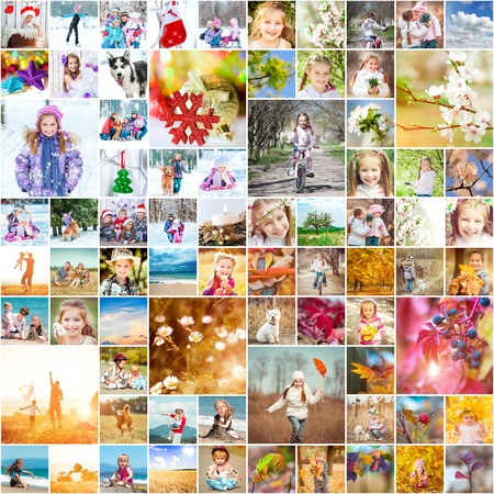 collage of family photos in the four seasons