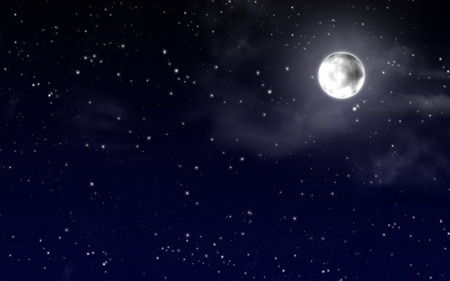 Foto de Night sky with stars and full moon - Imagen libre de derechos