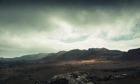 Photo for volcano and lava desert. Lanzarote, Canary islands - Royalty Free Image