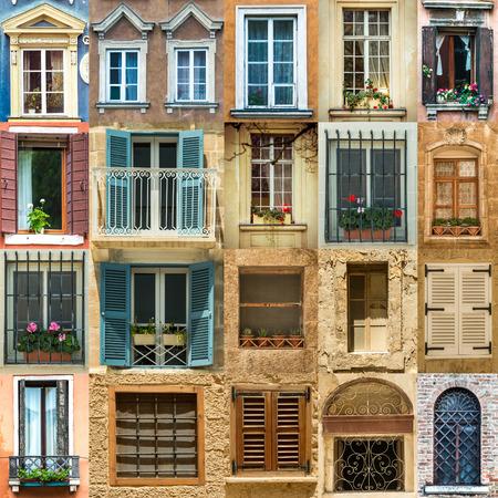 Photo pour collage with antique windows in Europe - image libre de droit