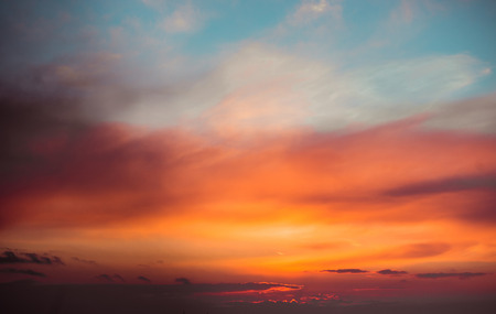 Photo pour Fiery  sunset sky. Beautiful clouds - image libre de droit