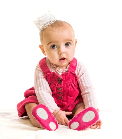 Photo pour cute six-month girl in costume princess - image libre de droit