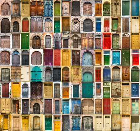 Photo pour set photos of doors on the old districts of Europe - image libre de droit