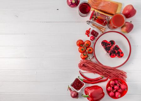 Photo pour Set of red food, space for text, topview - image libre de droit
