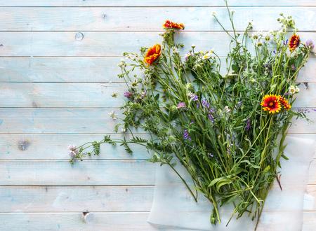 Photo pour wildflowers freshly from a field, copyspace, topview - image libre de droit