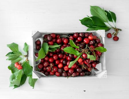 Photo pour box with ripe cherries, topview - image libre de droit