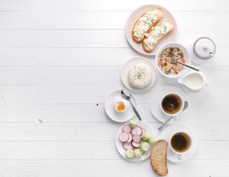 Photo pour Healthy breakfast with toast , cheese, text space, topview - image libre de droit