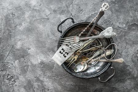 Photo pour bowl with antique dishware, copyspace, topview - image libre de droit
