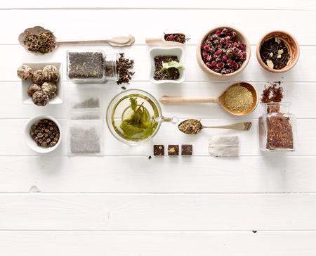 Photo pour Collection of tea and measurements, copyspace, topview - image libre de droit