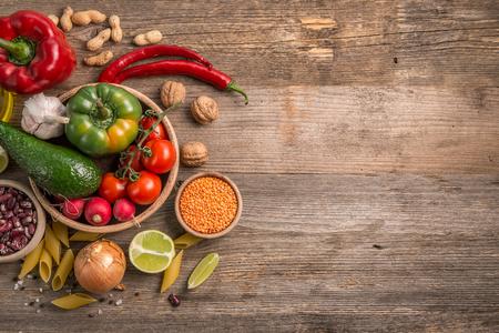 Photo pour Variety of vegetables, space for text left, topview - image libre de droit