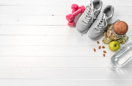 Photo pour gray running shoes, space for text on side - image libre de droit