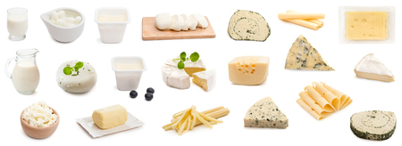 Photo pour collage various types of cheeses isolated - image libre de droit
