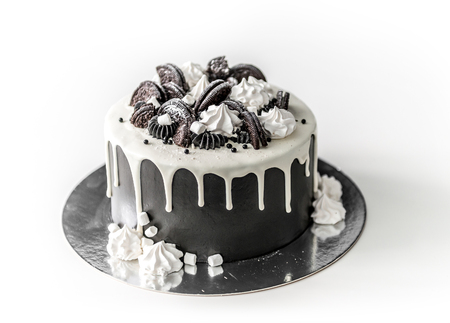 Photo for Delicious chocolate homemade cake with cookies - Royalty Free Image