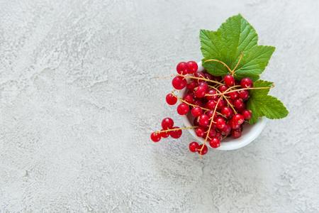 Photo pour Small bowl with red currant, topview, copyspace - image libre de droit
