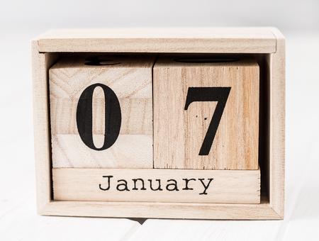 Foto de Wooden calendar that shows seventh of january - Imagen libre de derechos