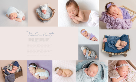 Photo for PIctures of sleepy newborns in collage - Royalty Free Image