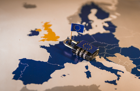 Photo for Padlock over EU map, symbolizing the EU General Data Protection Regulation or GDPR. Designed to harmonize data privacy laws across Europe. - Royalty Free Image