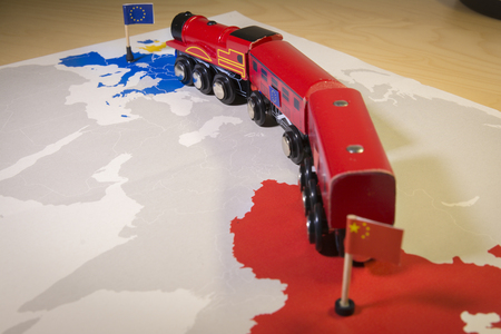Photo for Toy train connecting Europa and China. Yidaiyilu project - Royalty Free Image