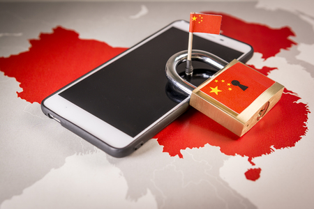 Photo pour Padlock, China flag on a smartphone and China map. Great Firewall of China concept - image libre de droit