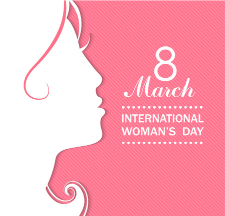 Illustration pour Happy Women's Day celebrations concept with a girl face on pink background. Vector illustration. - image libre de droit