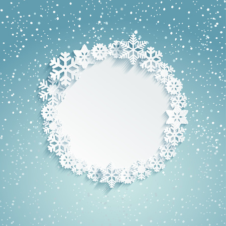 Illustration pour Circular Christmas frame with snowflakes - template for message. Snowy background. Vector illustration. - image libre de droit