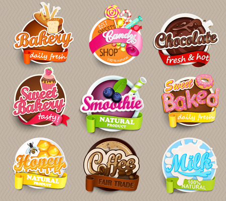 Illustration pour Set of stickers of food - farm fresh and pizza, fresh juice and grill, water, chocolate, coffee, smoothie, honey . Vector. - image libre de droit