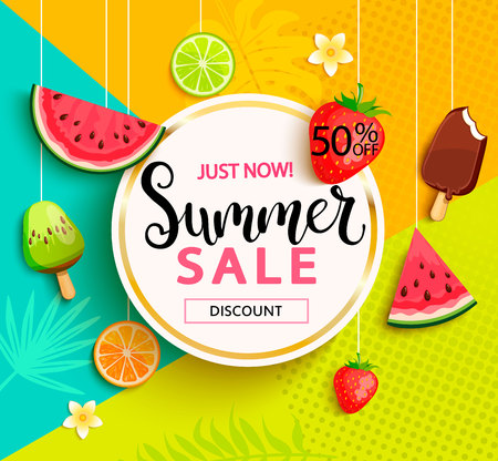 Illustration pour Summer sale with fruits. - image libre de droit