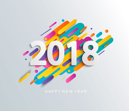 Illustration for New Year 2018 design card on modern background. - Royalty Free Image