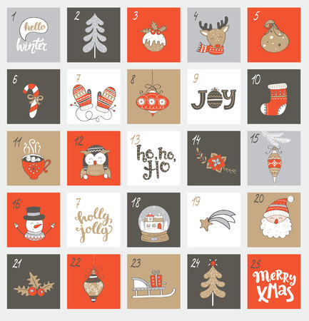 Illustration for Christmas advent calendar with different christmas symbols for your design. Vector illustration. - Royalty Free Image