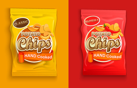 Illustration pour Set of two packaging with chips, classic and with paprika. - image libre de droit