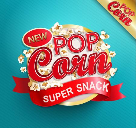 Illustration pour Popcorn label, symbol or sign. Vector illustration of super snack for your design. - image libre de droit