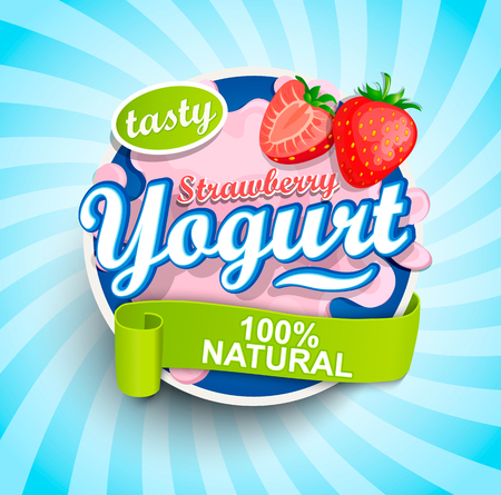 Illustration for Fresh and Natural Strawberry Yogurt label splash with ribbon on blue sunburst illustration. - Royalty Free Image