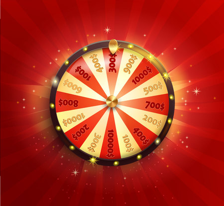 Illustration for Symbol of spinning fortune wheel in realistic style. Shiny lucky roulette for your design on red glowing sunburst background. Vector illustration. - Royalty Free Image