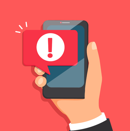 Illustration pour Concept of malware notification or error in mobile phone. Attention message bubble in smartphone. Red alert warning of spam data, insecure connection, scam, virus. Vector illustration. - image libre de droit
