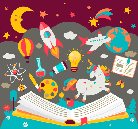 Ilustración de Concept of kids dreams while reading the book.  Open book with many fabulous elements. Vector illustration in flat style. - Imagen libre de derechos