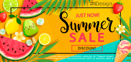 Illustration pour Super sale flyer with gourmet food to summer time such as ice cream,watermelon,strawberries.Vector illustration template and banners, wallpaper,flyer,invitation, poster,brochure,voucher discount. - image libre de droit