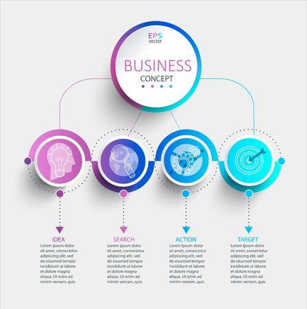 Ilustración de Creative modern infographic with business timeline data visualization.Diagram with 4 steps,options,parts and processes.Template for presentation,workflow layout,banner,web design.Vector illustration. - Imagen libre de derechos