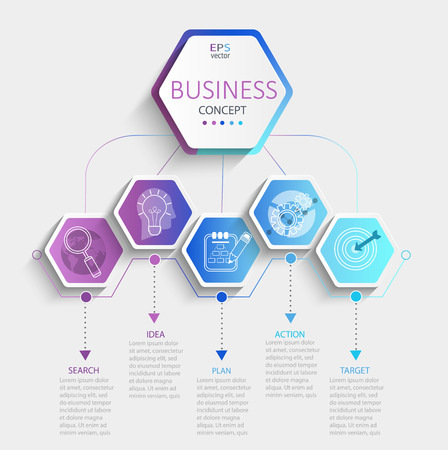 Ilustración de Modern hexagon infographic with business timeline data visualization.Template Diagram with 5 steps.Vector illustration. - Imagen libre de derechos
