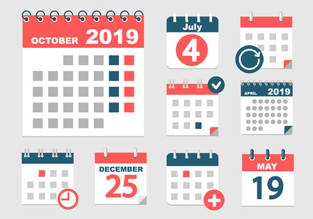 Foto für Set of different calendars with different options for 2018-2019 years with dates, holidays and weekands. Vector illustration. - Lizenzfreies Bild