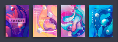 Illustration pour Set of 4 Abstract gradient backgrounds and baners with wavy shapes, circles, cubes and balls. Colorful and digital backdrop for the advertise and marketing in dynamic, fluid forms.Vector illustration. - image libre de droit